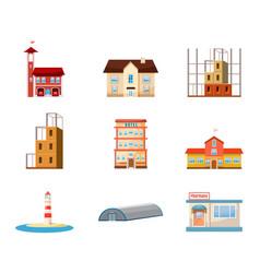 buildings icon set cartoon style vector image