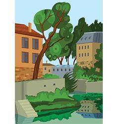 Cartoon buildings near the lake vector
