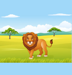 cartoon lion with african landscape background vector image