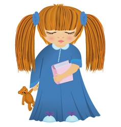 Cartoon sleepy girl vector image