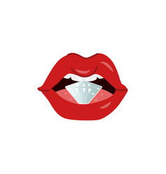 cartoon woman sexy red lips diamond vector image