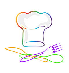 chef hat silhouette and spoon fork and knife vector image