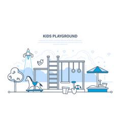 Children s entertainment playground with sandpit vector