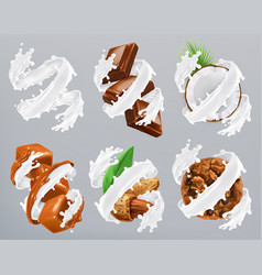 chocolate caramel coconut almond biscuits in milk vector image