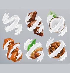 Chocolate caramel coconut almond biscuits in milk vector