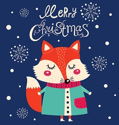 Christmas fox design vector image