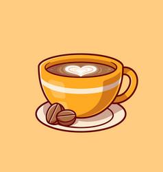 Coffee love foam with beans cartoon icon vector