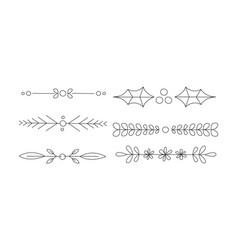collection of hand drawn line borders retro vector image