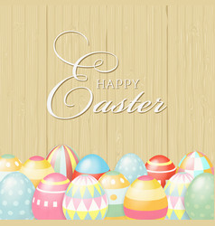 colorful happy easter greeting card with eggs and vector image