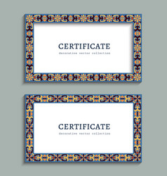 colorful rectangle frame with ornamental border vector image