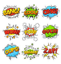Comic words cartoon speech bubble with zap pow vector