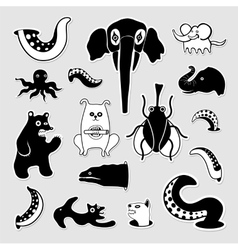 Crazy bizarre animal characters vector