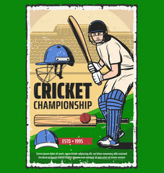 cricket game sport poster player with bat vector image