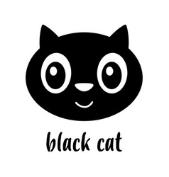 cute face cartoon black cat isolated vector image