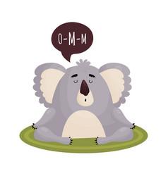 Cute koala in a state nirvana meditates on the vector