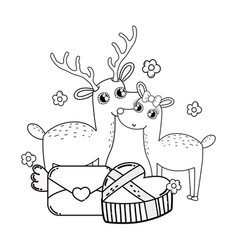 cute love reindeer couple with envelope and gift vector image