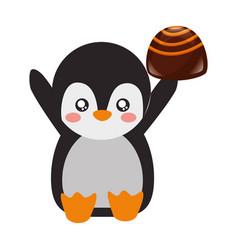 Cute penguin chocolate sweet bonbon vector