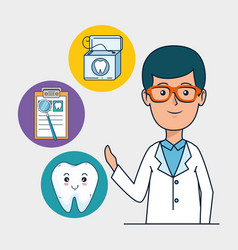 Dentist man with tooth diagnosis treatment vector