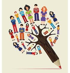 Diversity people concept pencil tree vector
