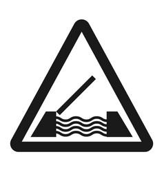 Drawbridge ahead sign line icon vector