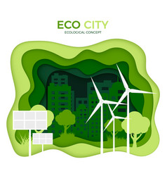 eco city ecological concept green paper cut vector image