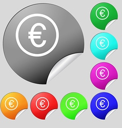 Euro icon sign Set of eight multi colored round vector image