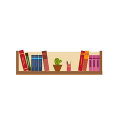 flat bookshelf with books office folders vector image