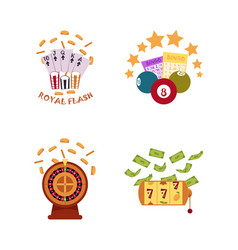 Flat casino symbols icon set vector