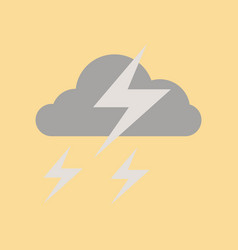 Flat icon on stylish background lightning cloud vector