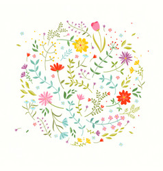 Floral design element greeting card with cute vector