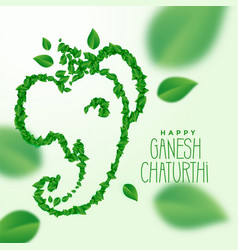 Ganesh ji made with green leaves concept design vector