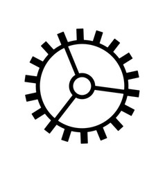 Gearwheel icon black on white background vector