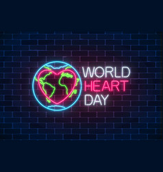 Glowing neon medicine concept sign with heart vector