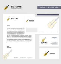 guitar business letterhead envelope and visiting vector image