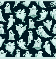 Halloween ghost pattern cartoon seamless monsters vector