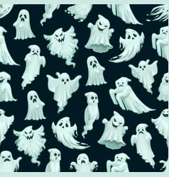 halloween ghost pattern cartoon seamless monsters vector image