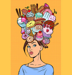 hungry woman thoughts concept sweets baking vector image