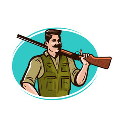 Hunter with gun on his shoulder hunting cartoon vector