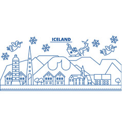 iceland winter city skyline merry christmas vector image