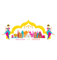 India landmarks with traditional dancer vector