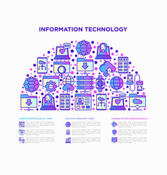 information technology in half circle vector image