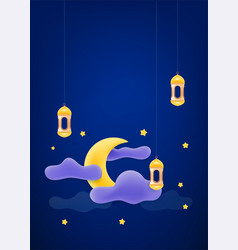 Islamic holidays decoration banner with moon and vector