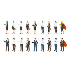 isometric businessmen office employee 3d vector image