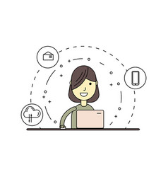 linear cute and happy woman with laptop vector image