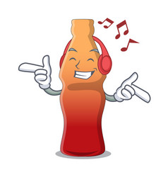 Listening music cola bottle jelly candy mascot vector