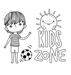 Little boy with sun kawaii kids zone scene vector