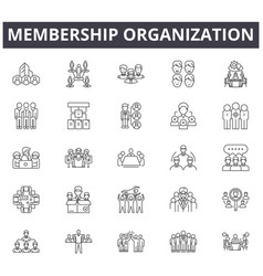 Membership organization concept line icons signs vector