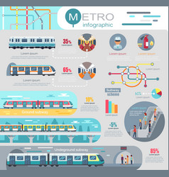 Metro infographic with statistics and schemes vector