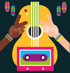 multiracial hands peace and love guitar feathers vector image