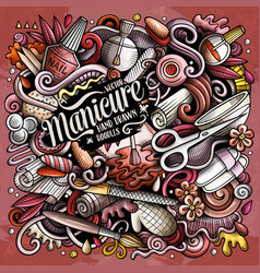 Nail salon hand drawn doodles vector